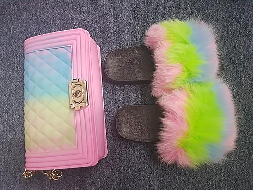 Tropical fur slippers and designer handbag set