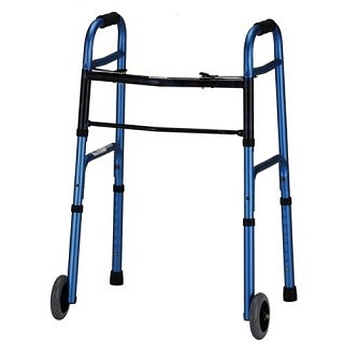 Folding Walker With 5 Inch Wheels - Blue