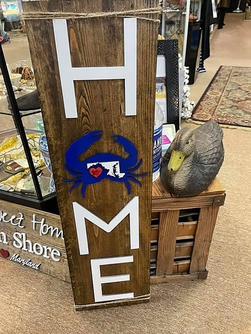 Wooden Home Crab Sign