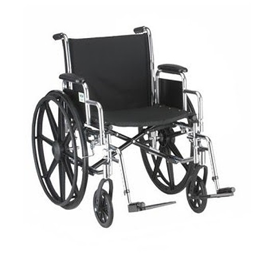 Hammertone Wheelchair- 18  & 20 Inch Lightweight With Flip Back Detachable Arms & Swingaway Footrest