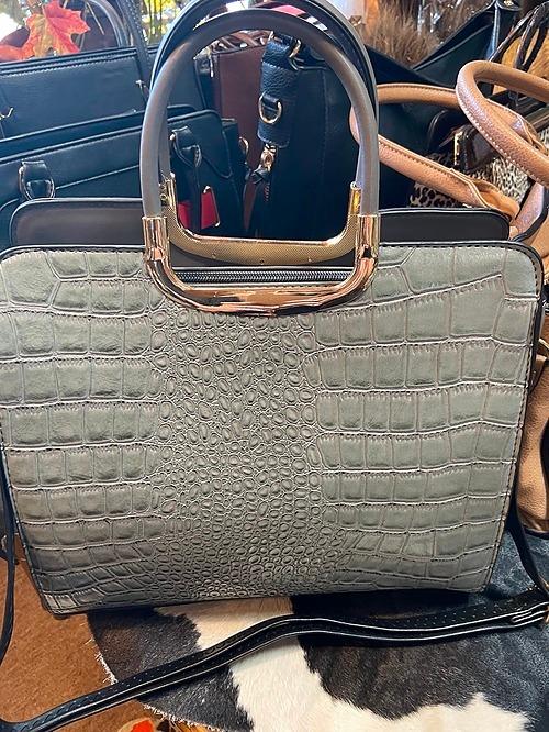 Gray Vegan Leather Bag