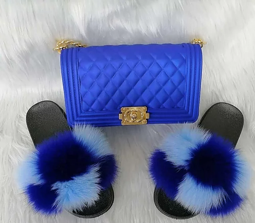 Tropical fur slippers and designer handbag set