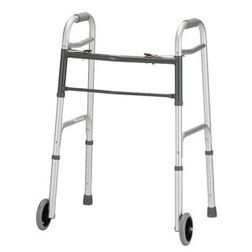Folding Walker With 5 Inch Wheels 2 Button Standard