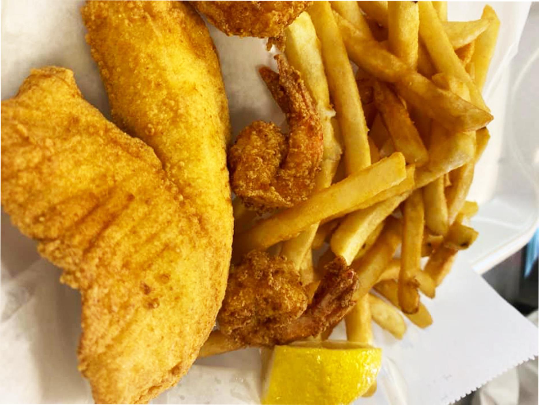 1Pc Tilapia or Catfish & 3 Shrimp