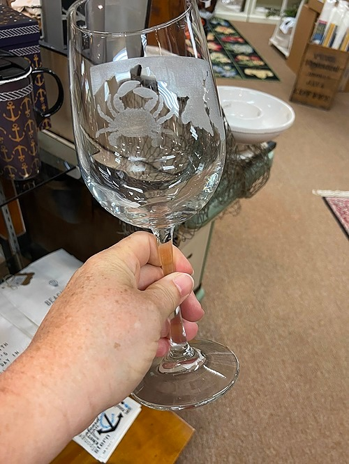 Wine Crab Glass With The Maryland Map
