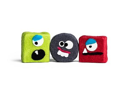 Set of 3 Felted Monster Soaps