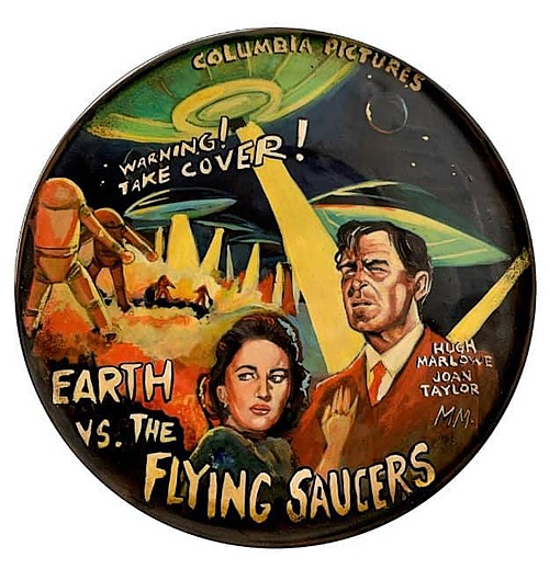 """""""Earth vs the Flying Saucers"""" Tin Sign of Horror, Sci-Fi, and Classic Movies Art from Manes"""