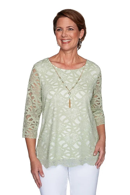Alfred Dunner Lace Top with Necklace