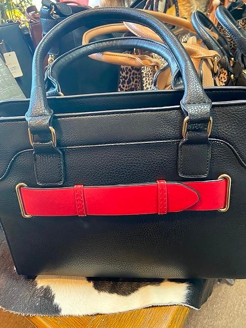 Black & Red Vegan Leather Bag