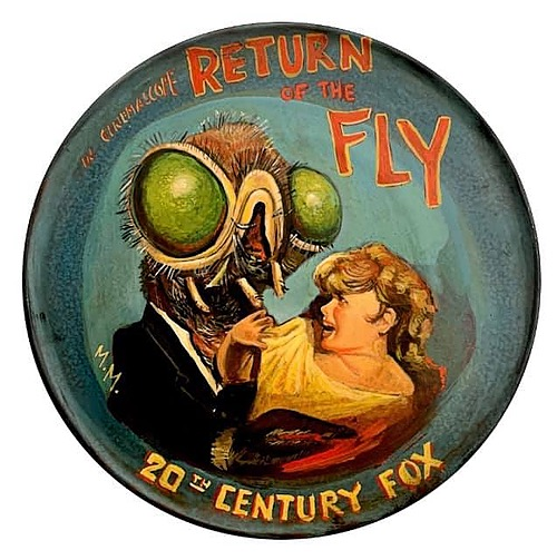""""""" Return of the Fly"""" Tin Sign of Horror, Sci-Fi, and Classic Movies Art from Manes"""