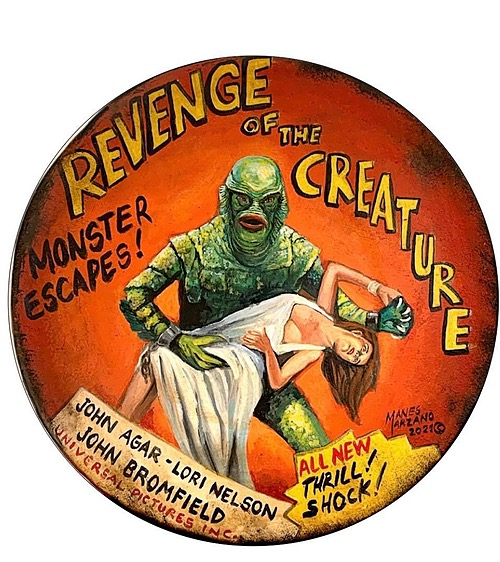 """""""Revenge of the Creature"""" Tin Sign of Horror, Sci-Fi, and Classic Movies Art from Manes"""