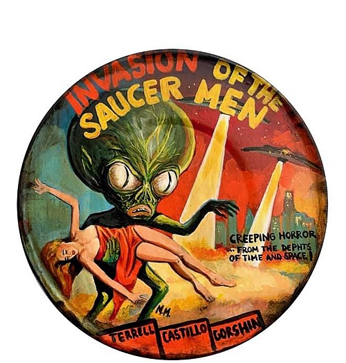 """""""Invasion of the Saucer Men"""" Tin Sign of Horror, Sci-Fi, and Classic Movies Art from Manes"""