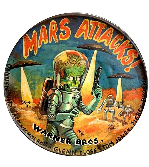 """""""Mars Attacks!"""" Tin Sign of Horror, Sci-Fi, and Classic Movies Art from Manes"""