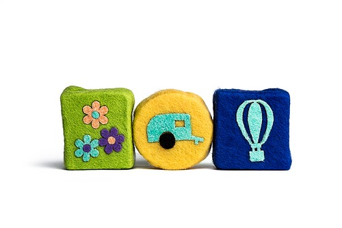 Spring Set of Felted Soaps