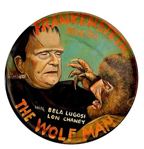 """""""Frankenstein Meets the Wolf Man"""" Tin Sign of Horror, Sci-Fi, and Classic Movies Art from Manes"""