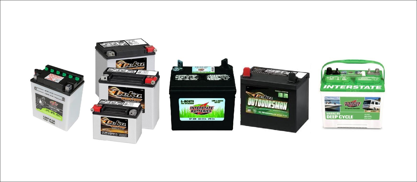 We Stock Many Different DEKA & INTERSTATE Motorcycle, ATV, Marine & Garden Tractor Batteries