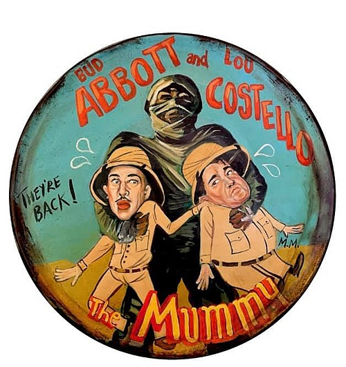 """""""Abbott & Costello meet the Mummy"""" Sign of Horror, Sci-Fi, and Classic Movies Art from Manes"""