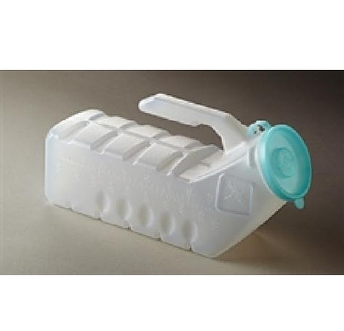 Medline Male Urinal with Cover Spill Resistant Design